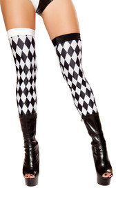 Thigh high jester stockings with black and white diamond pattern.