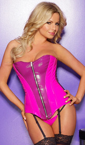 This striking hot pink vinyl corset has a unique black fishnet detailing. Features lace-up back and front zipper opening. Adjustable and detachable garters. Hot pink vinyl g-string included.