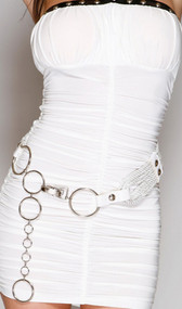 Rope belt with O ring chain and faux leather accents with rounded silver button details.