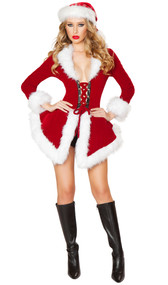 Chic Santa costume includes velvet long sleeve jacket with lace up front and fur trim. Matching shorts also included. Two piece set.