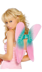 Mesh pixie wings with glitter detail. Includes matching wand with mesh ruffle, wing accent, shiny ribbons, and blue flower center accent. Wings have elastic shoulder straps to ensure a snug fit.