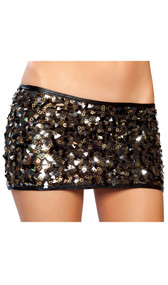 Sequin mini skirt.