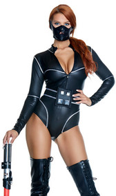 Forceful costume includes matte zipfront bodysuit with contrasting perforated fabric, metallic piping, and action-packed belt. Mask also included. Three piece set.
