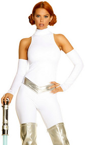 Galaxy Goddess costume includes mock neck jumpsuit, sleek elbow length gloves and sultry metallic belt. Three piece set.