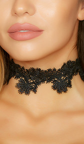 Soft lace choker with scalloped edges and adjustable closure.
