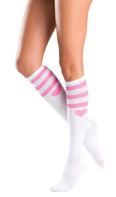 Athletic knee highs with pink heart and stripes design.