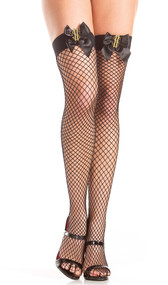 Fishnet thigh highs with dollar sign and satin ribbon detail.