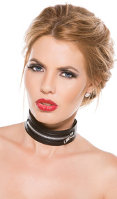 Adjustable faux leather collar with zipper detail. Hook and loop closure on back.