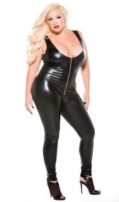 Sleeveless Wet Look Catsuit