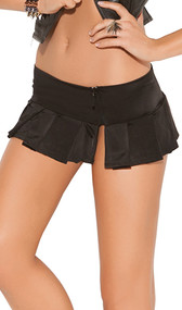 Pleated mini skirt with side slit and zipper.