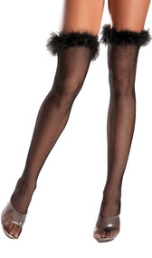 Fishnet thigh high stockings with marabou trimmed top.
