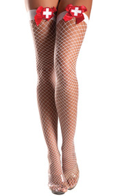 Lycra industrial fishnet thigh highs with satin bow and medical cross applique.