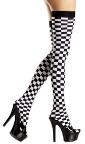 Thigh high stockings with checkerboard design.