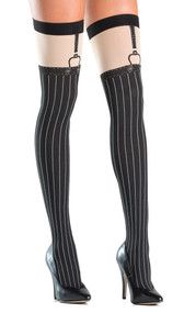Opaque faux suspender thigh highs with pinstripe design. Suspender straps are printed on.
