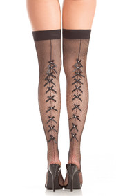 Fishnet thigh high stockings with multi satin bow backseam and rhinestone center.