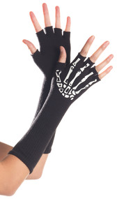 Mid arm length fingerless gloves with skeleton hand bone design on back of hands.