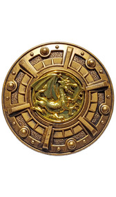 Plastic warrior shield costume accessory. Round bronze-look shield with gold colored dragon medallion in the center. Handle on back side.