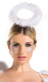 Angel or cupid halo head piece adorned with fluffy white feathers.