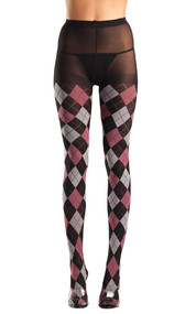 Black, gray and pink classic argyle tights.
