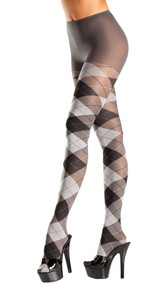Gray and black argyle tights.