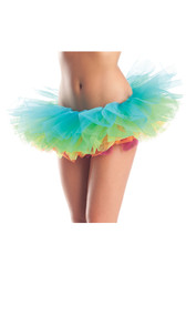 Multi layered rainbow organza tutu.