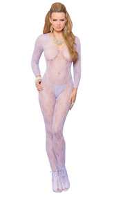 Long sleeve lace bodystocking with open crotch.