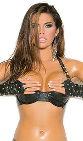 Studded leather demi bra with underwire cups, halter neck and adjustable back closure.