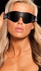 Sleek bandeau eye mask with adjustable hook and loop closure.