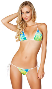Tie dye print halter neck bikini top. Matching side tie bottoms with scrunched back.