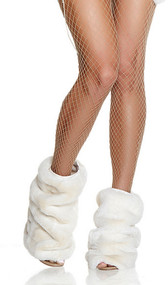 Super soft faux fur ankle leg warmers with elastic top.