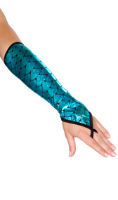 Iridescent fingerless elbow length gloves with mermaid scale print and finger loop.