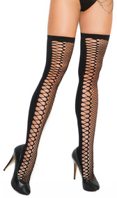 Zig zag net thigh high with cut outs. Plain back side.