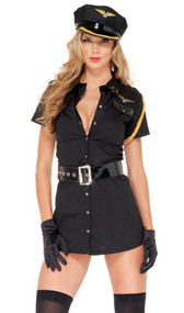 Sexy Captain Girl pilot costume includes short sleeve snap-front mini dress with winged insignia and star patches. Matching captain's hat, vinyl belt, and gloves also included. Four piece set.