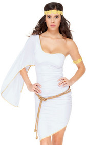 Glam Goddess costume includes one shoulder dress, rope belt, arm band, and headband. Four piece set.