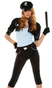 Persuasive Patrol Cop costume includes top, pants, bolero jacket, belt, hat, gloves, baton and toy gun. Eight piece set.