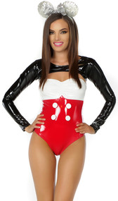 Miss Mouse costume includes strapless vinyl bodysuit with matching bolero and sparkly ear headband. Three piece set.