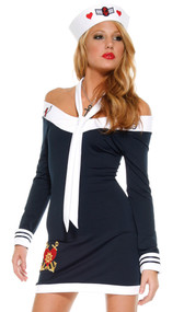 Beloved Sailor costume includes long sleeve off the shoulder dress with zipper back, hat and scarf tie. Three piece set.