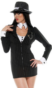 Mobster Mama costume includes pinstripe blazer dress with cutout back, camisole, collar, cuffs, and vintage style garters with stockings. Six piece set.