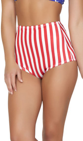 American flag print pinup style high-waisted shorts with zipper back.