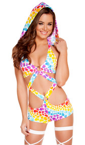 Heart print monokini with O-ring detail and detachable hood.
