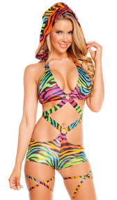 Rainbow zebra print monokini with O-ring detail and detachable hood.