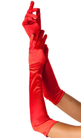 Opera length satin gloves.