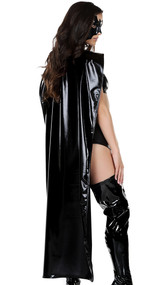 Full length metallic cape with velcro closure.