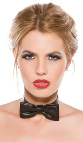 Adjustable faux leather bow tie collar. Hook and loop closure on back.