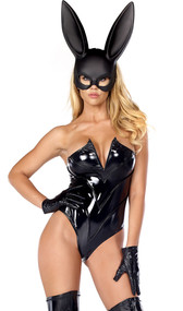 Breathtaking Bunny costume includes a strapless high-cut vinyl bodysuit with wired V neckline, gloves, and plastic rabbit ear mask. Three piece set.