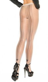 Sheer Cuban foot pantyhose with woven lace up back detail. Design is printed on the back, these do not actually lace up.