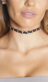 Narrow intertwined ribbon and chain choker with adjustable lobster clasp closure.