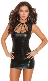 Wet look mini dress with cut out neck, mesh inserts, O Ring details, and cut out back.