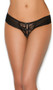 Lace and mesh crotchless panty with satin bow detail.
