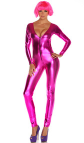 Metallic long sleeve catsuit with deep V front zipper opening.